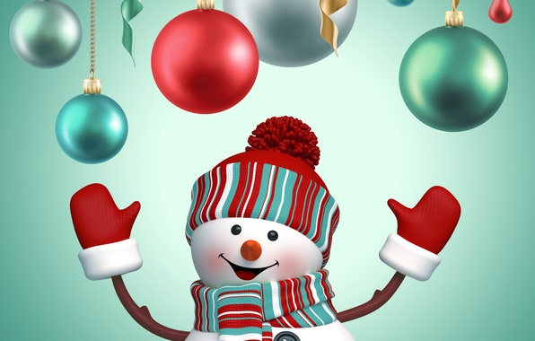 Picture balls, New Year, Christmas, snowman, Christmas, New Year, cute, snowman, decoration, Merry