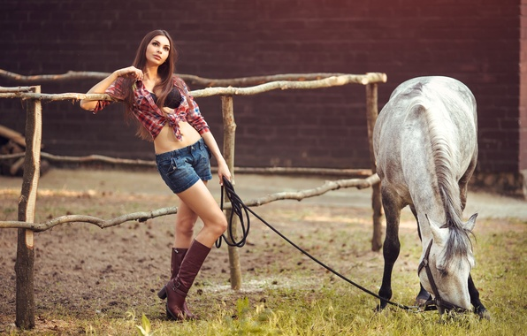 Picture grass, girl, pose, horse, shorts, boots, figure, white, shirt, brown hair, a blade of grass, …