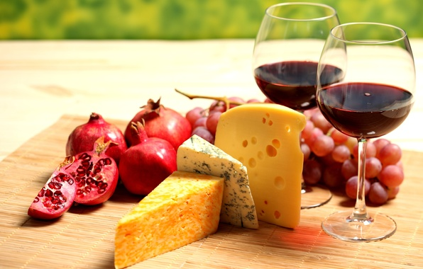 Picture wine, red, cheese, glasses, grapes, fruit, garnet