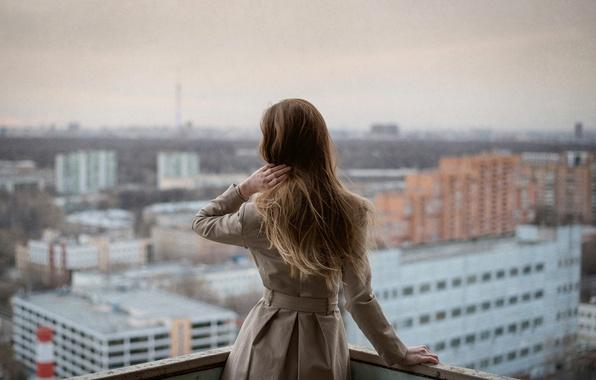 Picture girl, the city, overcast, view, Moscow, balcony, Atmosphere, Radmila Sadykova