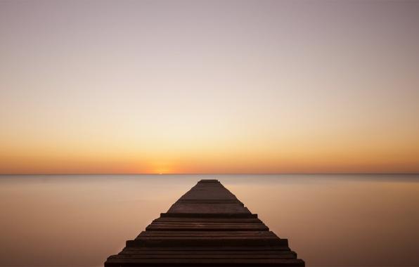 Picture sea, sunset, orange, calm, the evening, calm, the bridge