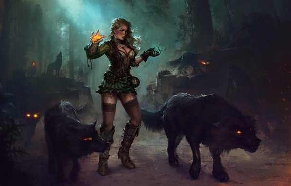 Picture forest, girl, night, magic, dress, art, blonde, MAG, wolves, witch