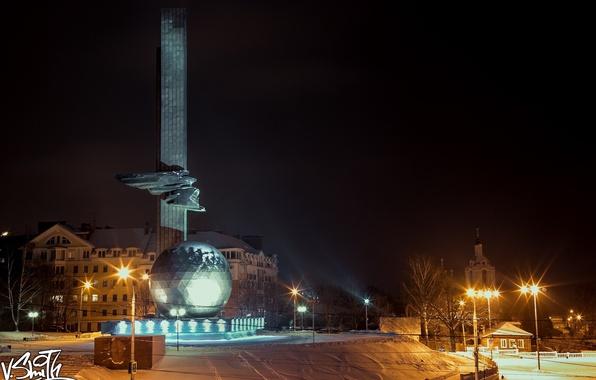 Picture snow, night, city, the city, ball, night, snow, Gagarin, Vladimir Smith, Vladimir Smith, Kaluga, Kaluga, …