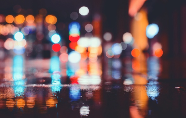 Picture light, night, the city, lights, street, the evening, puddles, bokeh