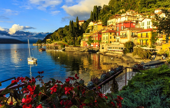 Picture lake, building, home, yacht, Italy, promenade, Italy, lake Como, Lombardy, Lombardy, Lake Como, Varenna, Varenna