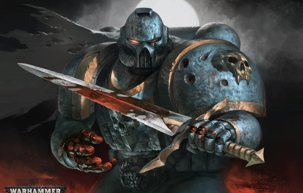 Picture sword, soldiers, Warhammer, Marine, power armor