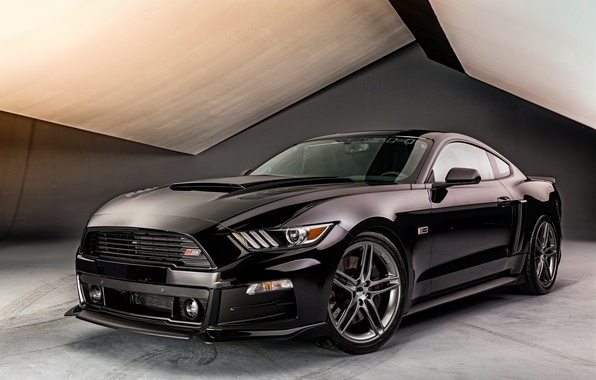 Picture black, Mustang, Ford, Mustang, Ford, Back, Roush, 2015, Stage 3