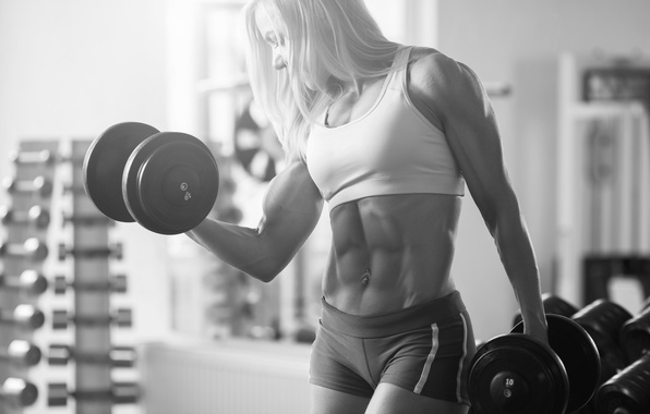 Picture muscles, pose, female, abs, bodybuilder