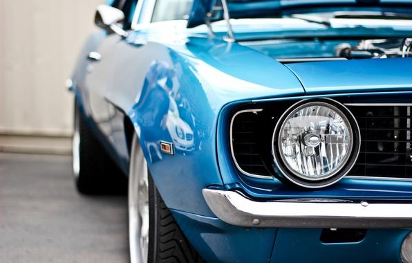 Picture blue, headlight, Chevrolet, Camaro, Chevrolet, muscle car, blue, muscle car, Camaro