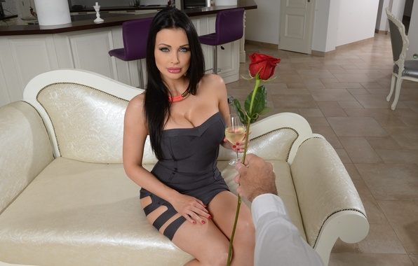 Photo wallpaper look, Aletta Ocean, flower, hand, brunette, model, pose, dress