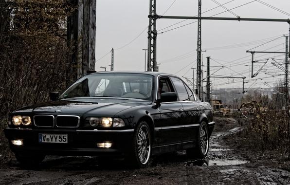 Picture Black, BMW, Boomer, BMW, Dirt, Lights, E38, bimmer, 740i