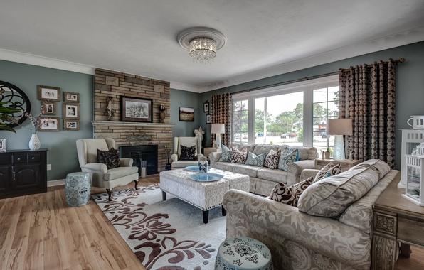 Picture design, sofa, carpet, pillow, fireplace, living room