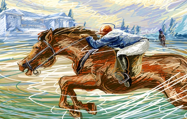Picture horse, figure, speed, vector, jockey, touch, allure, Racecourse, running