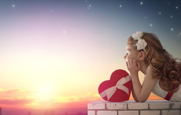 Picture love, sunset, heart, girl, love, heart, romantic, balloon