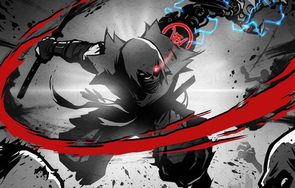 Picture eyes, sword, katana, hands, hood, zombies, blow, zombie, kimono, ninja, cyborg, current, ninja, mechanical hand, …