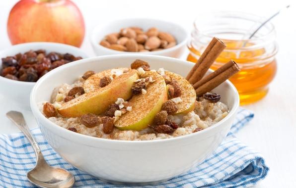 Picture Apple, honey, nuts, cinnamon, raisins, porridge, oatmeal