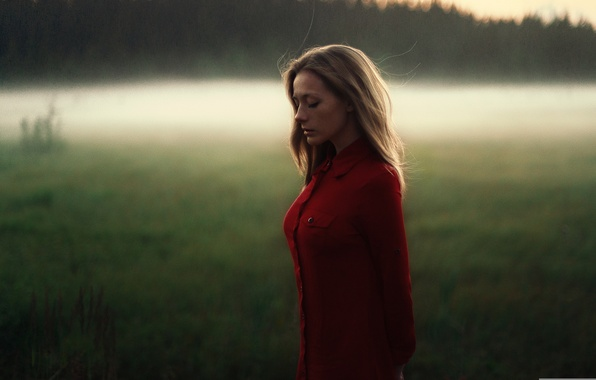 Picture sadness, field, girl, light, sunset, reverie, model, portrait, the evening, shirt, brown hair, weather, red, …