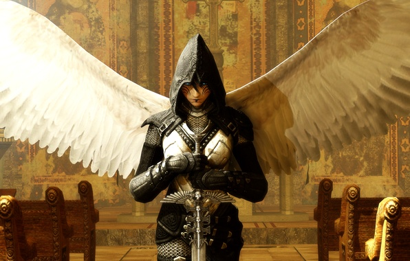 Picture weapons, wings, angel, sword, armor, art, angel, Fantastica