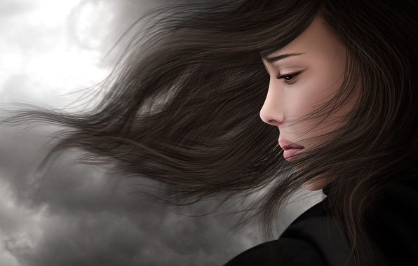 Picture sadness, girl, the wind, sadness, hair, brunette, profile