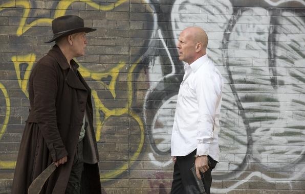 Picture gun, wall, graffiti, hat, knife, Bruce Willis, Bruce Willis, coat, machete, John Malkovich, John Malkovich, …