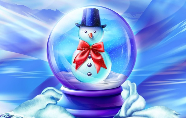 Picture winter, snow, childhood, new year, Christmas, tale, snowman
