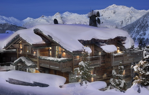 Picture winter, snow, mountains, house, stay, the evening, the hotel, France, Alps, Courchevel