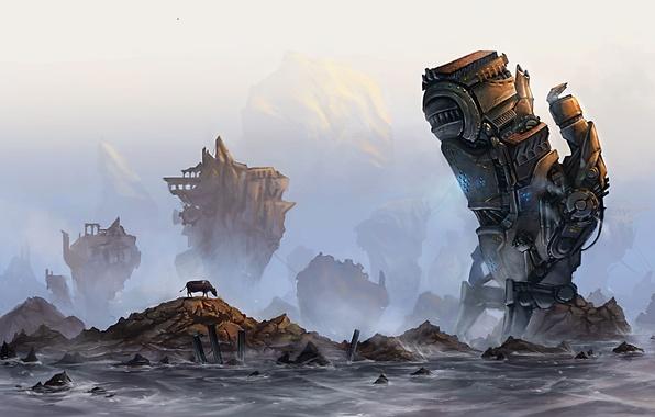 Picture sea, fog, stones, rocks, mechanism, robot, cow, ruins, giant