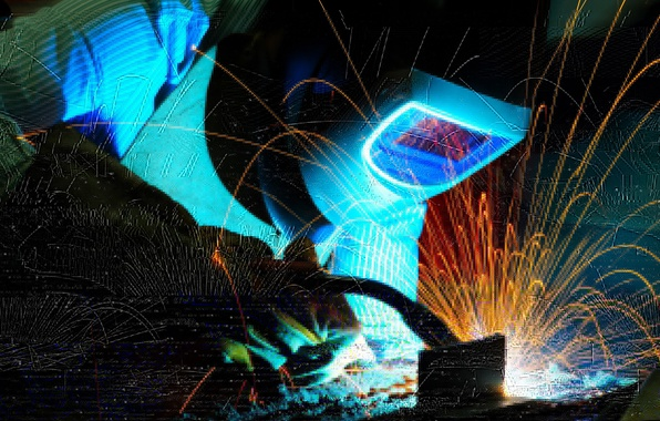 Picture pearls, welder, welding, electrical arc, worker