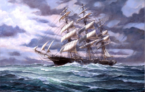 Picture Sea, Figure, Wave, Ship, Sailboat, Picture, Sails, Side view