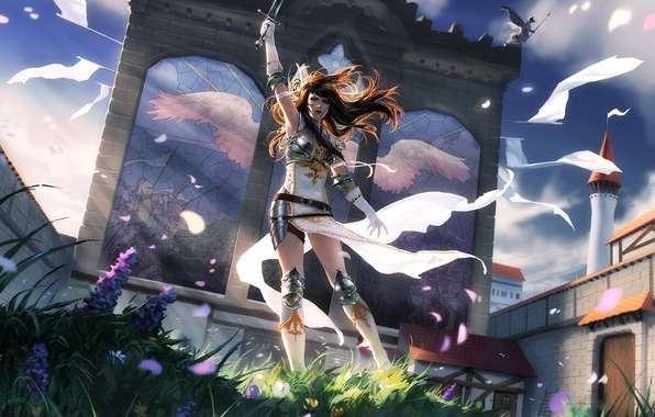 Picture girl, flowers, castle, the wind, the building, wings, sword, Magic The Gathering
