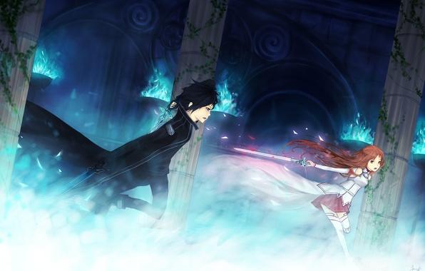 Picture girl, weapons, fire, magic, sword, columns, guy, the battle, art, sword art online, yuuki asuna, …