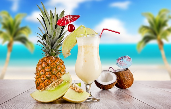 Picture sea, the sky, clouds, cherry, palm trees, table, glass, coconut, cocktail, summer, pineapple, food, tube, …
