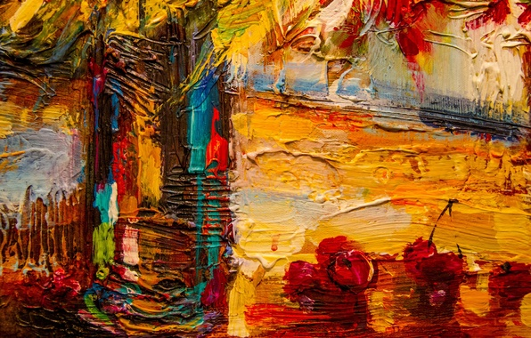 Picture colorful, art, painting, cherries