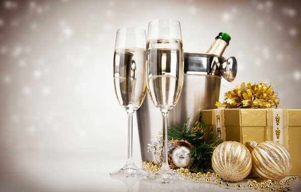 Picture balls, holiday, gift, toys, New Year, glasses, Christmas, champagne, gold