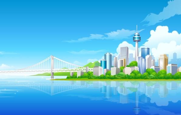 Picture blue, bridge, building, tower, vector