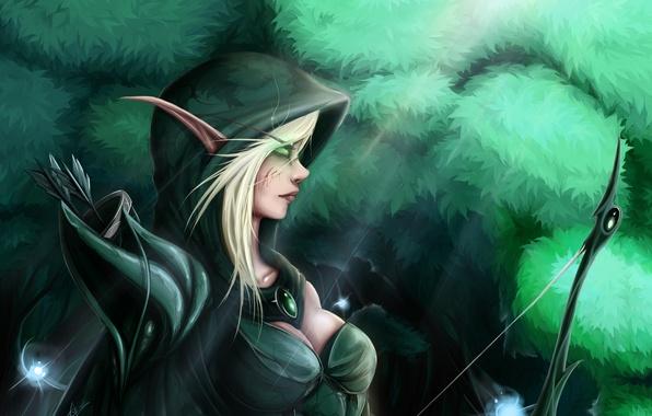 Picture girl, weapons, elf, anime, bow, art, hood, zackargunov
