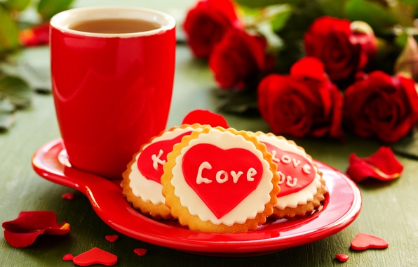 Picture love, flowers, holiday, tea, heart, roses, bouquet, cookies, Cup, love, heart, flowers, cup, holiday, bouquet, …