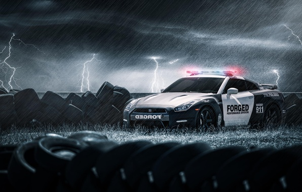 Picture rain, zipper, police, tires, tires, Nissan, GT-R, black, Nissan, police