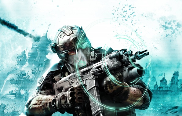 Picture the explosion, weapons, glasses, soldiers, machine, gloves, camouflage, sight, hologram, squad Ghost, Ghost Recon: Future ...