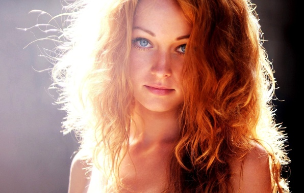 Picture eyes, girl, light, blue, red, girl, blue, eyes, hair, sunlight