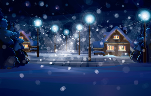 Picture snow, decoration, city, the city, lights, lights, vector, graphics, home, vector, speakers, New year, new …