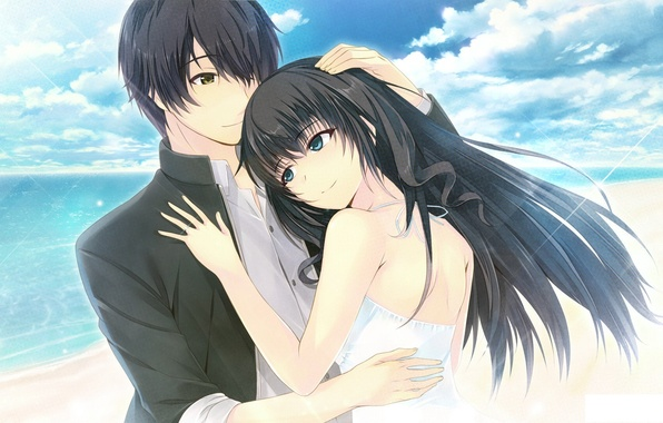 Picture girl, anime, art, pair, guy, two