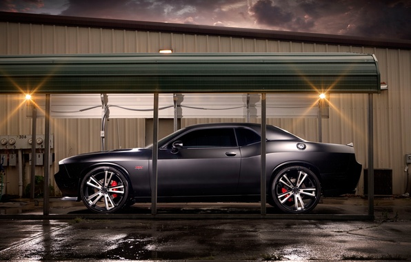 Picture The sky, Clouds, Auto, Night, Tuning, Machine, Dodge, Challenger, Garage