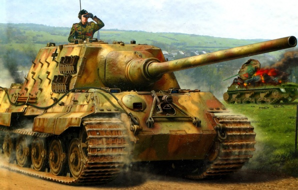 Picture Figure, Jagdpanzer VI, Heavy, Hunting tiger, SPG, Ausf. B, 12.8cm PaK44, Tank destroyers, Sd.Car.186, on …