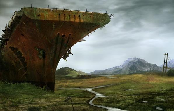 Picture bridge, river, ship, valley, the skeleton, art, devastation, the carrier, postapokalipsis