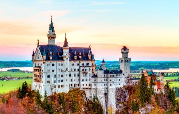 Picture castle, Germany, autumn, mountain, Neuschwanstein, Bavaria, castle, Alps, Neuschwanstein Castle, splendor