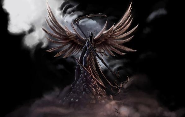Picture fog, death, fiction, wings, skull, braid, black background, dark angel