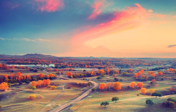 Picture autumn, the sky, clouds, trees, sunset, mountains, home, valley, horizon