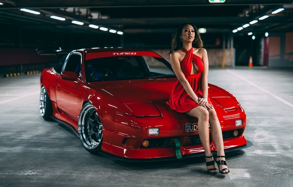 Picture Girl, Nissan, Red, Car, Legs, Model, Body, Beauty, View, 180SX, Stance, Hair, Dress