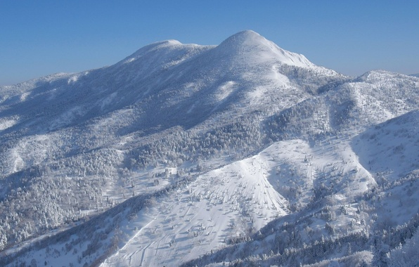 Picture winter, snow, blue, Japan, Mountain, slope, Ecote
